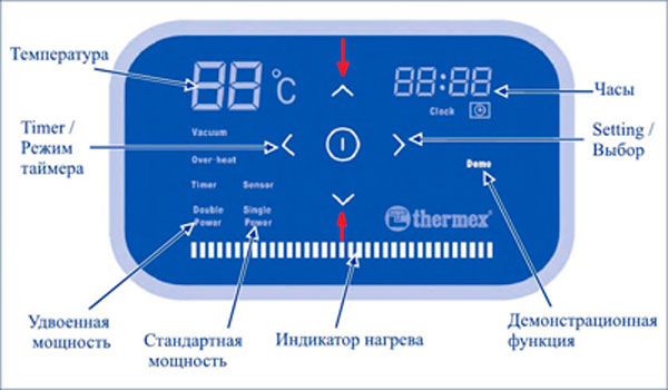 ЖК-экран водонагревателя Термекс