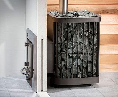 Металлическая печь для бани с выносной топкой