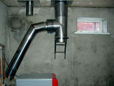 Котёл отопления с дымоходом в специальном помещении