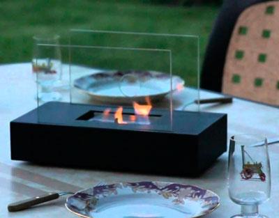 Настольный камин и ужин