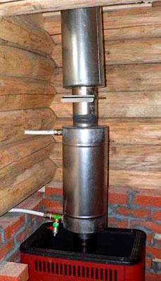 Подключённый теплообменник в бане или дома