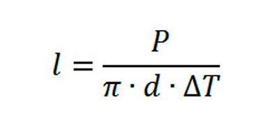 Формула для расчёта длины змеевика и число витков